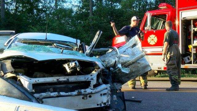 Two people were taken to the hospital after a nearly head-on wreck on N.C Highway 42 near the Johnston-Wilson County line.