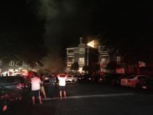Authorities respond to a fire at the Hyde Park Apartments located at 206 Hyde Park Ct. in Cary. The fire began just before midnight on Sept. 6, 2016. (Photo By: Mark Simpson/WRAL)