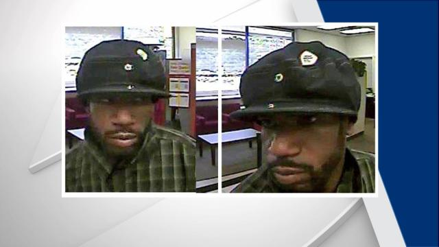 Surveillance images show a man suspected of robbing a bank in Raleigh Sept. 20, 2016.