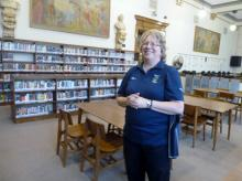 Hibbing native and Dylan expert Mary Palcich Keyes relates tales of Dylan's high school years in Hibbing High School's library. (Deseret Photo)
