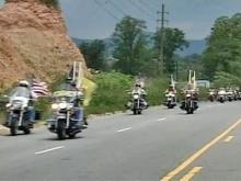 Bikers ride for slain trooper's son