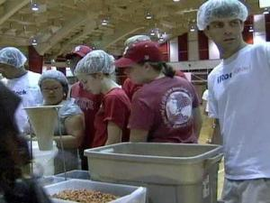Students at N.C. State package meals on Aug. 23, 2008.