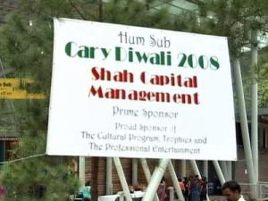 A sign at the Diwali Festival in Cary on Oct. 11, 2008.