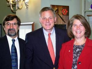 Katherine Bruce, recipient of the 2008 Professor of the Year Award by the Council for the Advancement and Support of Education, and her husband, Mark Galizio, met with U.S. Sen. Richard Burr (center) on Nov. 20, 2008. Bruce was in Washington D.C. to receive her award. (Image from the office of U.S. Sen. Richard Burr)