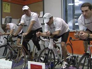 Bicyclists in Raleigh participate in the 7th annual ALS Indoor Ride-a-thon on Feb. 7, 2009.