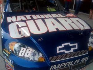 """C3 Church honored citizen-soldiers, active-duty and retired military and their families during the second annual """"God and Country Weekend Celebration."""" Displayed were Dale Earnhardt Jr.'s #88 and Jeff Gordon's #24 cars. (Photo courtesy of Rod Gray)"""