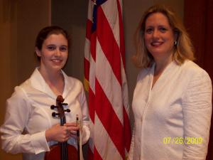 Kate Pearson (left) and Elizabeth Schulz (right), music director and conductor of The Kennedy Center/National Symphony Orchestra summer Music Institute.