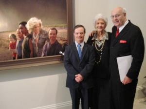 Special Olympian Marty Sheets, 56, of Greensboro, (left) poses next to a portrait featuring him and Eunice Shriver. The portrait hangs in the Smithsonian National Portrait Gallery. (Photo courtesy of Bob and Jan Ferrone)