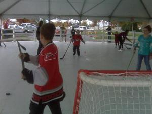 Children ice skate Saturday at Brier Creek Commons.