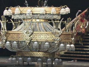 """The famous chandelier for """"The Phantom of the Opera,"""" was put into place Wednesday at the Durham Performing Arts Center."""