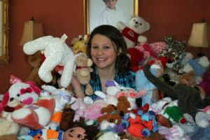 Ashton Makey, a seventh-grader at Four Oaks Middle School collected 403 stuffed animals for children in earthquake-stricken Haiti. (Photo courtesy of Johnston County Schools)