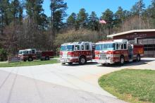 Capt. Gary Amato, Lt. Donnie Wall and Senior Firefighters Daniel Fox and John Mitchell, all with the Raleigh Fire Department, received the Firemark Award for Heroism during a ceremony at Fire Station 16 Saturday, March 27, 2010. They were honored for saving the lives of two women during a townhouse fire in May 31, 2008. (Photo courtesy of the City of Raleigh)