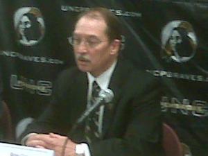 Kyle Carter is introduced as chancellor of UNC-Pembroke on April 9, 2010.