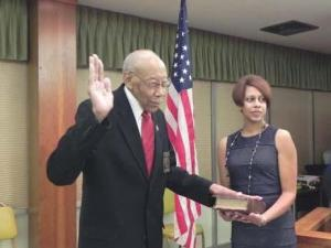 Samuel Spencer is sworn in as mayor of Roxboro.