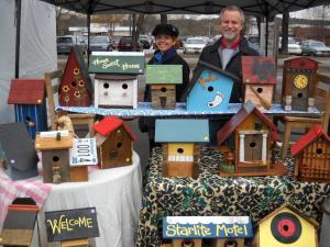 Local artisans showcase their birdhouses at a holiday craft market in Chapel Hill Dec. 11.