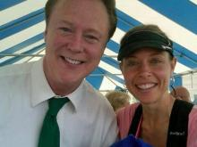 WRAL's Bill Leslie and Kelcey Carlson after the Grandfather Mountain Marathon.