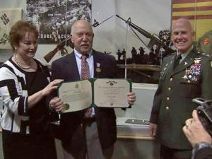 Retired Capt. Lyle Parker was awarded the Soldier's Medal at a ceremony at the North Carolina Museum of History.