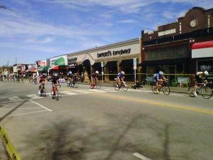 Riders sped up to 35 mph in the heats of the Ninth Street Derby Sunday in Durham.