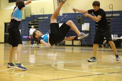 Nick Higgins, Matthew Russell and Graham Booth perform their double dutch single freestyle routine.