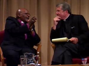 WRAL News anchor David Crabtree hosts a webcast Saturday, May 19, 2012, featuring Archbishop Desmond Tutu. (Source: Episcopalchurch.org)