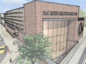 Preliminary designs for the Raleigh transportation hub show multi-story windows with views for waiting passengers. (Image courtesy NCDOT)
