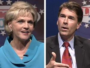 Lt. Gov. Bev Perdue and Treasurer Richard Moore debated at the WRAL-TV studios Tuesday evening, April 22, 2008. WRAL Anchors David Crabtree and Pam Saulsby moderated the discussion.