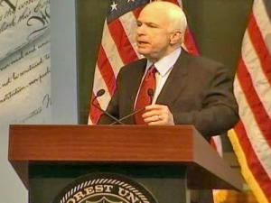 Sen. John McCain, the presumptive Republican presidential nominee, speaks in Wait Chapel at Wake Forest University in Winston-Salem on Tuesday, May 6.
