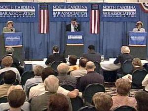 The candidates for U.S. Senate and for governor met in debates at a North Carolina Bar Association forum in Atlantic Beach on Saturday, June 21, 2008.
