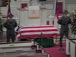 The body of former U.S. Sen. Jesse Helms lies in repose at Hayes Barton Baptist Church in Raleigh on July 7, 2008. Thousands of people are expected to pay their respects to Helms, who died July 4 at age 86.