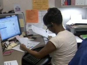 Tiffany Holden, of the Wake County Board of the Elections, works in her office on Oct. 11, 2008.