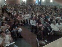 More than 850 people packed an auditorium at North Carolina Central University in Durham on Aug, 13, 2009 to debate health care reform.