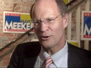 Charles Meeker celebrates his election to a fifth term as Raleigh mayor on Oct. 6, 2009.