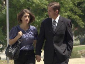 Ruffin Poole and his wife walk to the federal courthouse in Raleigh on April 19, 2010, before his guilty plea.