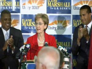 Elaine Marshall gives her victory speech after winning the North Carolina's Democratic nomination for U.S. Senate on Tuesday, June 22, 2010.