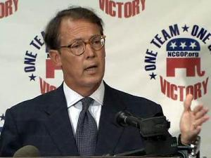 North Carolina Republican Party Chairman Tom Fetzer calls for the resignation of State Board of Elections officials during a June 28, 2010, news conference.