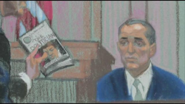 Defense attorney Abbe Lowell cross-examines former John Edwards aide Andrew Young on April 25, 2012, during the criminal trial of the former presidential candidate. (Sketch by Christine Cornell)