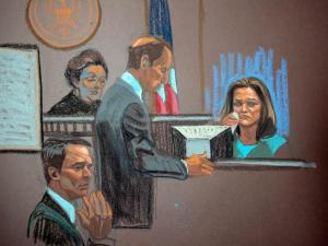 Former campaign staffer Jennifer Palmieri sobs on the witness stand on May 9, 2012, as she testifies in the criminal trial of John Edwards about the death of Edwards' wife. (Sketch by Christine Cornell)
