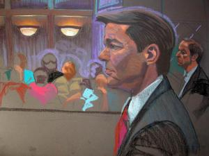 John Edwards' defense team, prosecutors and the federal judge overseeing his campaign finance fraud trial met behind closed doors on both May 25 and May 30, 2012, to address undisclosed jury-related issues. (Sketch by Christine Cornell)