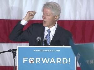 Former President Bill Clinton received loud welcome from a crowd of 4,000 at a rally in a Raleigh park Sunday afternoon as he criss-crossed the country stumping for President Barack Obama during the final days of the 2012 campaign.