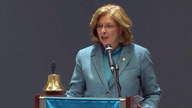 Raleigh Mayor Nancy McFarlane delivers her annual State of the City address on March 24, 2014.