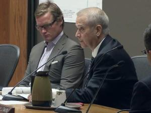 Councilman Thomas Crowder, right, tells the rest of Raleigh City Council that he is losing his fight against testicular cancer during a Sept. 2, 2014, meeting.