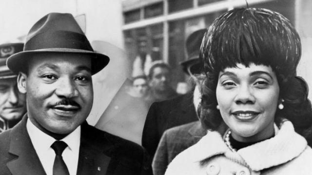 Dr. & Mrs. Martin Luther King Jr. pose for a portrait.  (World Telegram & Sun photo by Herman Hiller)