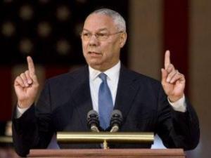 Former Joint Chiefs Chairman Colin Powell tells an audience in the Capitol Rotunda on Capitol Hill in Washington, Wednesday, July 23, 2008, about the importance of racial integration in the military that was brought about by President Truman's executive order 60 years ago. (AP Photo/J. Scott Applewhite)