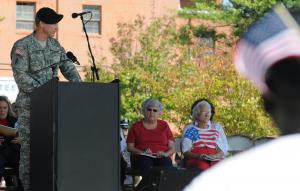 Master Sgt. John Sherbert, speaks to a crowd during the Sept. 11 First Responders Ceremony at Bicentennial Park in Asheboro, N.C. (photo by Staff Sgt. Curt Squires)