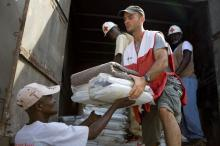 Red Cross workers aid in Haiti.