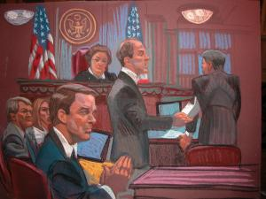 Defense attorney Abbe Lowell reads to jurors some points that John Edwards' legal team and federal prosecutors agreed upon on May 16, 2012. (Sketch by Christine Cornell)