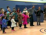 President Obama dances with Alaskan children