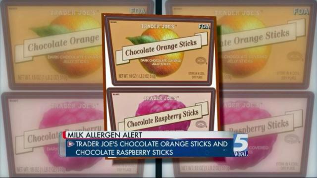 An allergy alert from was issued from Trader Joe's of Monrovia, California on Monday for undeclared milk in two types of chocolate bars that were distributed to stores nationwide.