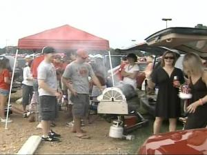 People tailgate at a North Carolina State University football game.