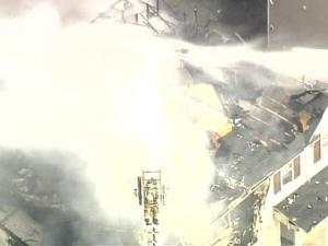 Sky 5 flew over the fire on Day Harbor Drive.